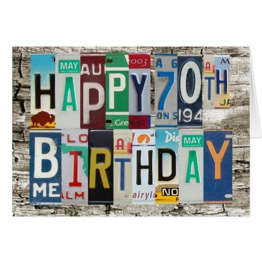 Tarjeta de cumpleaños feliz de las placas 70.a
