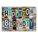 Tarjeta de cumpleaños feliz de las placas 90.a