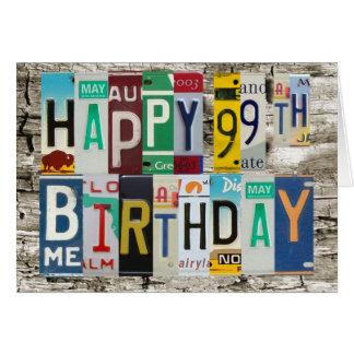 Tarjeta de cumpleaños feliz de las placas 99 a