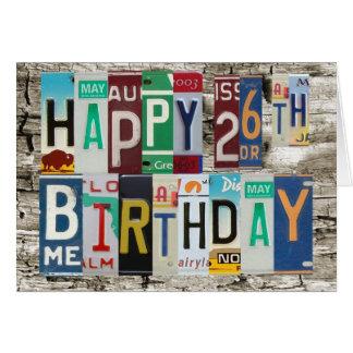 Tarjeta de cumpleaños feliz de las placas vigésima