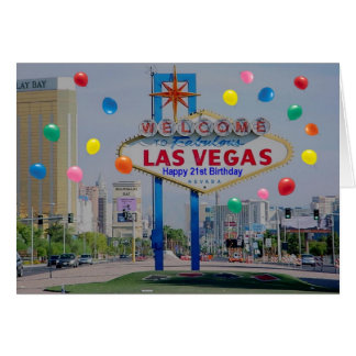 Tarjeta de cumpleaños feliz de Las Vegas 21ra en a