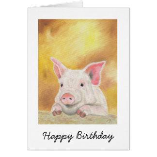 Tarjeta de cumpleaños feliz del cochinillo