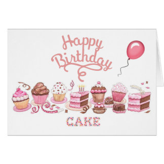Tarjeta de cumpleaños feliz del día de la torta