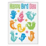 Tarjeta de cumpleaños feliz del día del pájaro