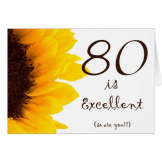 Tarjeta de cumpleaños feliz del girasol 80 a