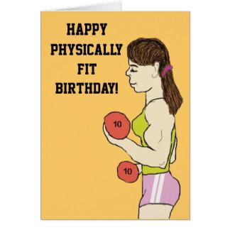 Tarjeta de cumpleaños físicamente cabida