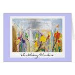 Tarjeta de cumpleaños floral abstracta imponente
