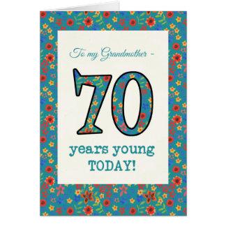 Tarjeta de cumpleaños floral, abuela, 70 años de