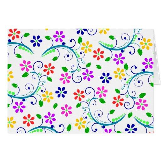 Tarjeta de cumpleaños floral brillante, colorida d