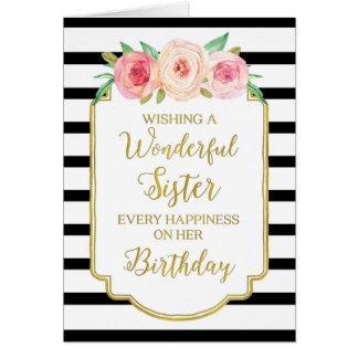 Tarjeta de cumpleaños floral de la hermana de las