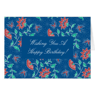Tarjeta de cumpleaños floral del batik de Aiyana