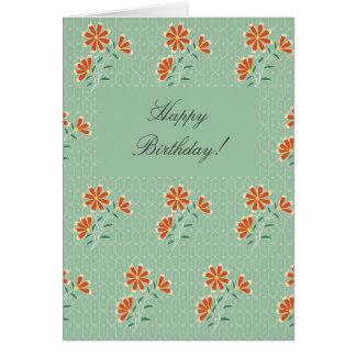 Tarjeta de cumpleaños floral del batik de Naila
