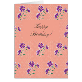 Tarjeta de cumpleaños floral del batik de Tula