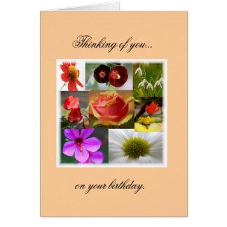 Tarjeta de cumpleaños floral del collage