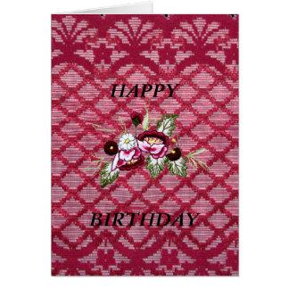tarjeta de cumpleaños floral del cordón rojo