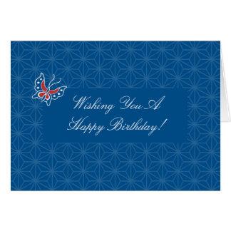 Tarjeta de cumpleaños floral del modelo del batik
