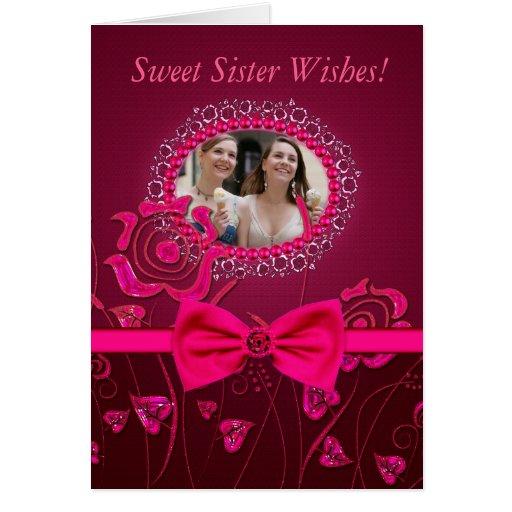 Tarjeta de cumpleaños floral rosada de la hermana