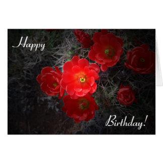 Tarjeta de cumpleaños floreciente del cactus