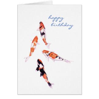 Tarjeta de cumpleaños flotante de Koi