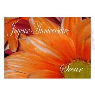 Tarjeta de cumpleaños francesa para la hermana