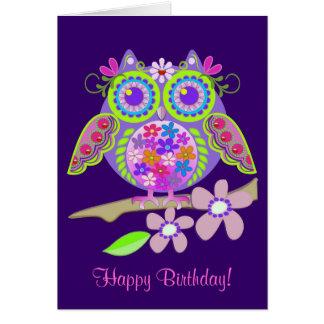 Tarjeta de cumpleaños fresca del búho del flower p