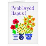 Tarjeta de cumpleaños Galés - flower power