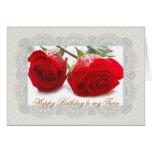 Tarjeta de cumpleaños gemela de dos rosas rojos