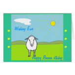 Tarjeta de cumpleaños graciosamente, con las oveja