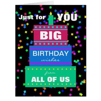 Tarjeta de cumpleaños grande del trabajo del grupo