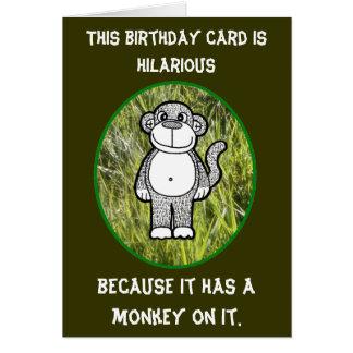 Tarjeta de cumpleaños hilarante del mono