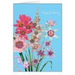 Tarjeta de cumpleaños impresa colorida botánica fl