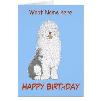 Tarjeta de cumpleaños inglesa vieja del perro de o
