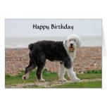 Tarjeta de cumpleaños inglesa vieja del perro del