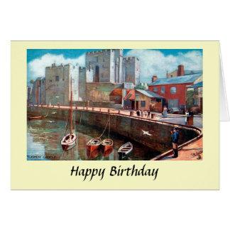 Tarjeta de cumpleaños - isla del hombre, castillo