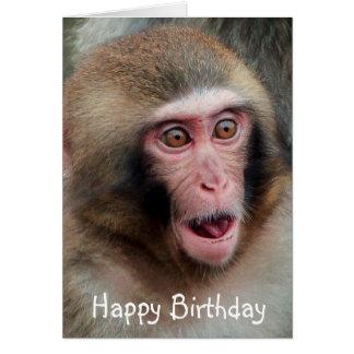 Tarjeta de cumpleaños japonesa del mono de Macaque