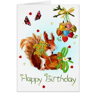 Tarjeta de cumpleaños linda de la ardilla roja