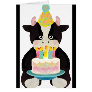 tarjeta de cumpleaños linda de la vaca del lil