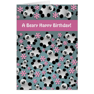 Tarjeta de cumpleaños linda de las pandas y de las
