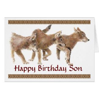 Tarjeta de cumpleaños linda de los perritos de lob