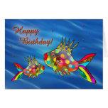 Tarjeta de cumpleaños linda de los pescados