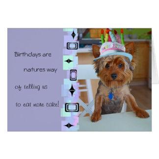 Tarjeta de cumpleaños linda de Yorkie