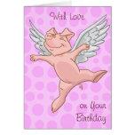 Tarjeta de cumpleaños linda del cerdo del vuelo