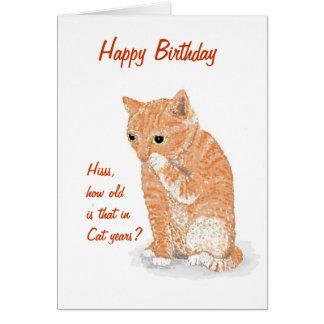 Tarjeta de cumpleaños linda del gatito