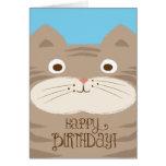 Tarjeta de cumpleaños linda del gato de Stripey Br