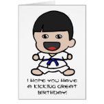 Tarjeta de cumpleaños linda del karate para los mu