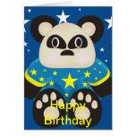 Tarjeta de cumpleaños linda del oso de panda