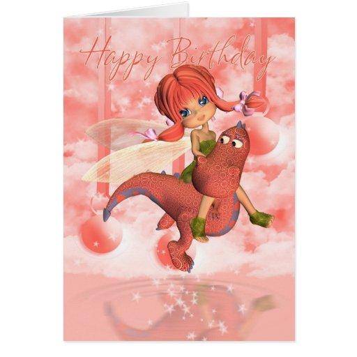 Tarjeta de cumpleaños linda, dragón rosado y hada