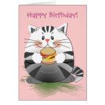 """Tarjeta de cumpleaños linda """"gato de la hamburgues"""