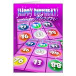 Tarjeta de cumpleaños loca del bingo de la mamá