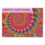 Tarjeta de cumpleaños loca rosada del fractal
